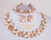 Luxury pearl bridal Jewelry Set, Gold Wedding Jewelry Sets, fancy crystals white pearls party jewellery champagne peach color for brides