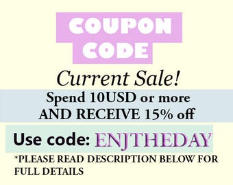 CURRENT SALE!!! Coupon Code
