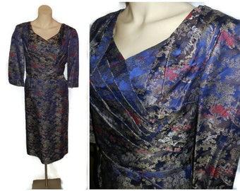 Vintage 1950s Dress Asian Satin Wiggle Dress Flattering Pleated Bust Amazing Fabric Dark Blue Gold 50s Rockabilly Pinup Dress sz L chest 44