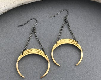 Voodoo naja brass squash blossom inspired crescent earrings