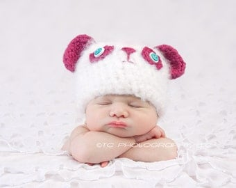 Crochet Fuzzy Bear Hat, Magenta and white, Newborn, photography prop