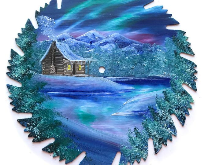 Hand Painted Saw Blade Mountain Northern Lights Winter Log Cabin SALE