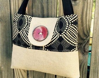 Handbag Purse Tote in Black and Cream with Glazed Red Button