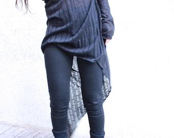 Sheer Black Tunic, Asymmetrical Tunic, Long Sleeve Tunic, Gotch , Punk