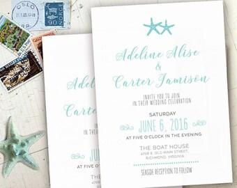 Mint Beach Nautical Destination Starfish Lakeside Camping Wedding Invitations Invites RSVP Cards Postcards Grey Navy Mint Blue Coral