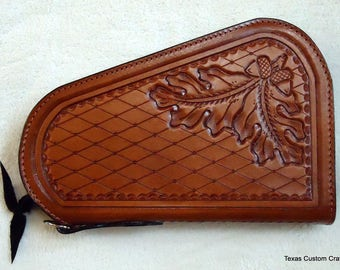 IN STOCK Leather Pistol Case with Hand Tooled Oak Leaf Pattern, Custom Pistol Case, Zippered Medium Size Pistol Case