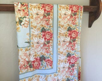 Vintage Tablecloth by April Cornell Floral Design Large 68 by 104 Inches