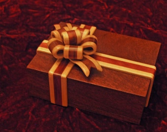 Ribbon Box - Solid Mahogany- The ribbon is Redheart Wood and Curly Maple