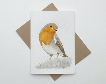 ORIGINAL Watercolor Robin Bird Card/ Robin Watercolor/ Bird Watercolor
