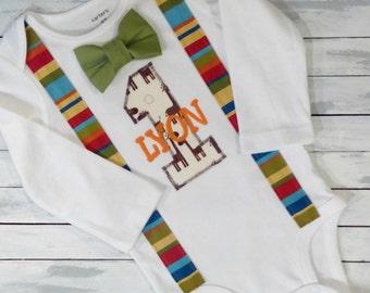 Baby Boys 1st Birthday Cake Smash Outfit- Safari Birthday - Jungle Birthday - Personalized Suspender Tie One-Piece - Photo Prop