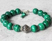 Malachite Bracelet, .925 Sterling Silver, intense green gemstone, semi-precious, natural stone bracelet, gift for her, holiday gift, 3920