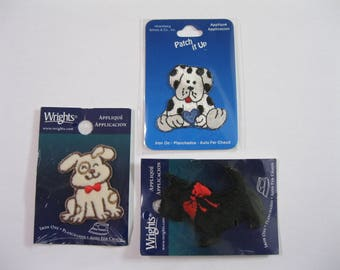 """Gone to the Dogs, Lot of Three Dog Appliques by Wrights and Patch It Up, Iron On, 1 75"""" to 2.5"""" size, three different dogs, NIP, washable"""