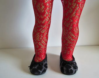 """SALE. Made To Fit Like American Girl Doll Clothes; 18"""" Doll Cream Lace Tights; Doll Cream or Red Tights; Doll Tights; Doll Lace Tights"""