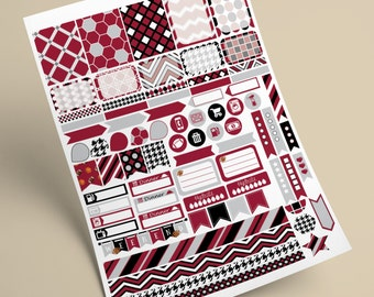 INSTANT DOWNLOAD - ECPL Printable Planner Stickers  -  Alabama Crimson Tide - Red, Grey, Black and White