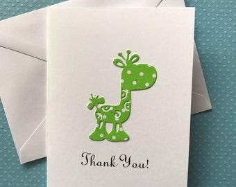 Giraffe Card, Thank You  Cards, Baby Shower Thank You Cards,  Baby Boy Girl Thank You Cards, Green & White Polka Dot Giraffe Cards