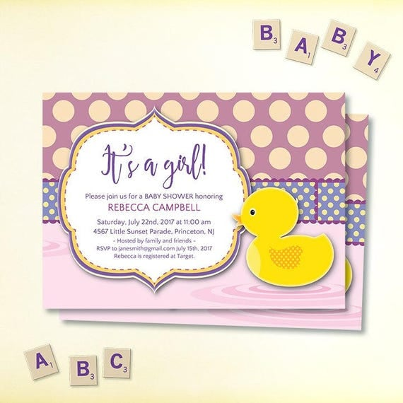 girl baby shower invitations its a girl pdf editable template. Black Bedroom Furniture Sets. Home Design Ideas