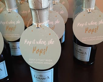 Wonderful Champagne Baby Shower Tag, Pop It When She POPS, Gender Neutral Baby Shower  Ideas