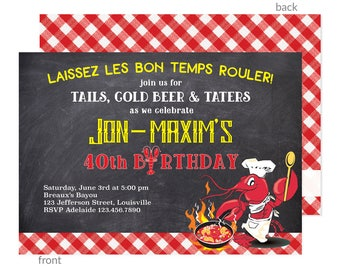Crawfish Boil Invitations, Bayou Bash Invites, Shrimp Boil Invitation, Southern Birthday, Low Country, New Orleans, Louisiana, Printable,DIY