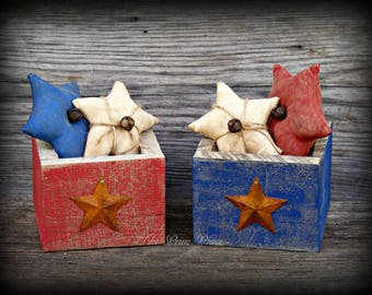 Primitive Stars in Rustic Wooden Box ~ Primitive Americana ~ Rustic Americana ~ Patriotic Decor ~ 4th of July Decor ~ Memorial Day Decor
