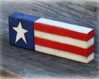 Primitive Flag Block ~ Americana Decor ~  Primitive Decor ~Primitive Americana ~ Patriotic Decor ~ Country Decor ~ 4th of July Decor