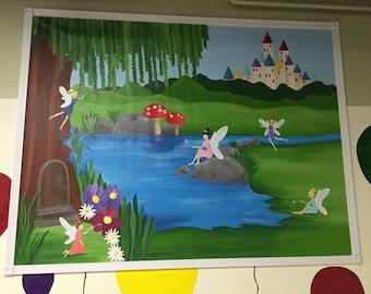 Princess Mural - Canvas Mural - Princess Painting - Fairy Party Decor - Princess Room Decor - Girl Room Decor - Castle Mural - Girl Mural