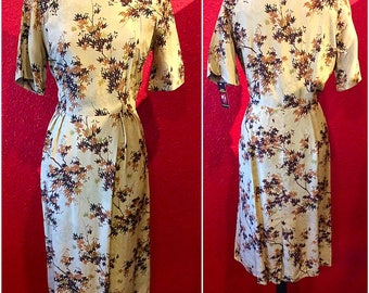 1950s Silk Print Floral Fitted Sheath Dress Large Watermark Fabric