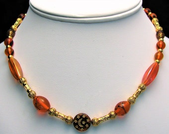 Autumnal Splendor Necklace, Oranges and Golds Glass Bead Necklace - Item 176
