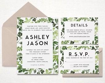 Printable Wedding Invitation Suite - Modern Botanical - Watercolor Botanicals, Leaves, Herbs