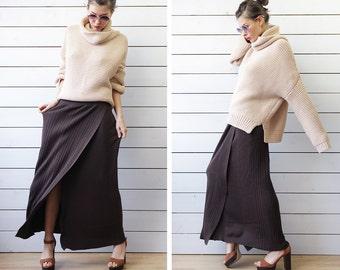 MARELLA by MaxMara vintage chocolate brown rib knit fitted high waist wrap deep slit maxi skirt L