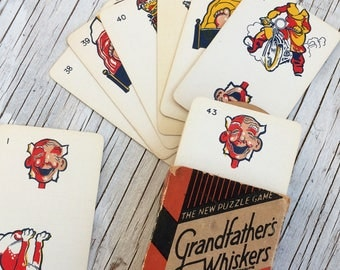 Grandfather's Whiskers, vintage card game. As described on the pack: a riot of fun, a million laughs, 3 games in 1! John Waddington, England