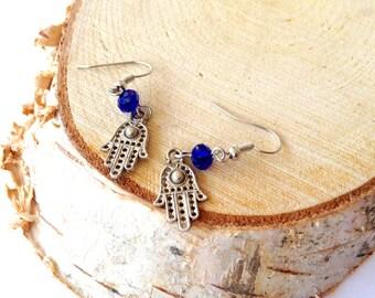 Hamsa earrings. Fatima Hand pendant Earrings. Hamsa hand. Silver pendant earrings. Linnepin010