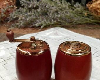 Vintage Set of Teakwood / Teak Wood and Brass Salt Shaker and Pepper Grinder / Made in Japan / Mid-Century Modern