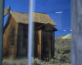 Cabin Reflections California Historical Bodie Ghost Town, Original Photograph, Fine Art Photography matted, signed 5x7 Original Photograph