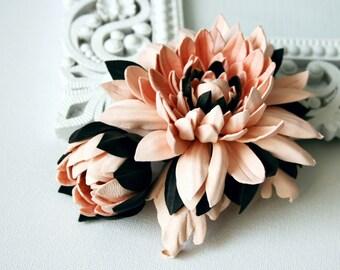 Pink/Brown Leather Chrysanthemum Flower Brooch/ Hairclip