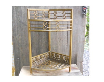 Vintage 1960s Corner Metal Plant Stand Display Hollywood Regency Country Cottage Garden Porch Victorian Farmhouse Shelves Flower Display