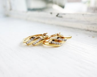 RESERVED- Small Vintage 9K Gold Earrings with Tiny Diamonds with Top Lock from Thailand