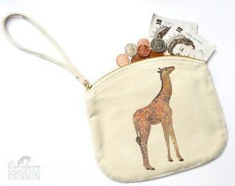 Giraffe Canvas Zip Purse, Makeup Bag, Coin Purse, Small Accessory Pouch