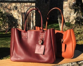Auburn New York Tote with Zipper - Handmade leather Tote bag