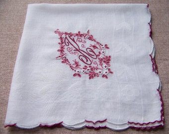 "Vintage Hand Embroiderd Scalloped  Initial Hanky Initial ""K"""