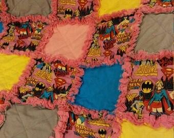 Superhero Rag Quilt - Supergirl - Wonder Woman - Batgirl Superhero Rag Quilt - Girls Superhero rRag Quilt -  Ready to Ship