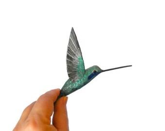 Paper machè bird Sculpture  hummingbird art Bird Ornament