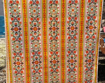 Orange, White, Yellow, Red, Green Floral Striped Print Fabric, 46 In wide, 2 3/4 yards (96 in) long - Medium Weight, Pillows, Curtains, Bags