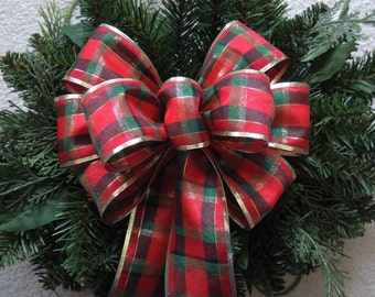 Tartan Woodland Christmas Bow Rustic Burlap Plaid Christmas