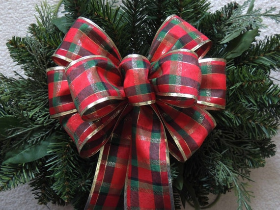 Country Christmas Plaid Bow Red Green Gold Christmas Plaid Bow Red Green Country Tartan Wreath Bow Christmas Plaid Door Hanger Bow