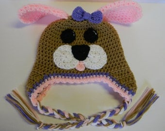 Made To Order Medium Brown with Pink/Purple Trim Crochet Puppy Hat - Photo Prop - Any Color Combination