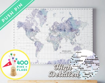 Personalized World Map Push Pin CANVAS - Watercolor Marble -  Countries  - World Map with Pins, Gift Idea, 240 Pins