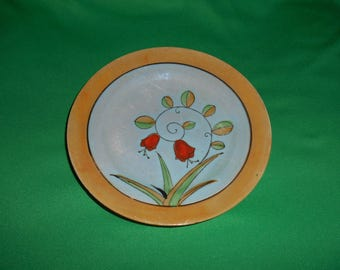 """One (1), 7 1/2"""", Porcelain Salad Plate, in Orange Lusterware. Marked Hand Painted, Made in Japan."""