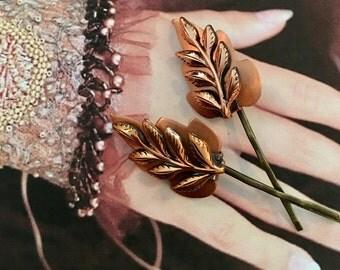 Matisse Enamel Leaf Leaves Hair Pins Vintage 1960 1970 Decorative Jewelry Copper  Elven Fairy Faerie Hairpins Bobby Woodland Goddess