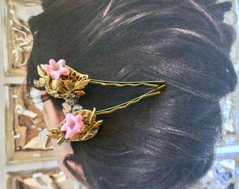 Bridal Hair Pins Jewelry Decorative 1940's Pink Haskell Floral Hairpins Bobby Pins