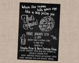 Pizza Invitation- That's Amore- Pizza and wine party-cooking class- experience gift-experience gift print-cooking class gift- pizza party-